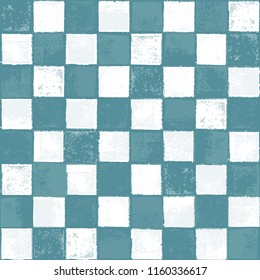 Seamless Vector Inky Stamped Distressed Turquoise and White Checkerboard Pattern. Great for fabric, scrapbooking, home decor, farmhouse chic, stationery, backgrounds, and print projects.