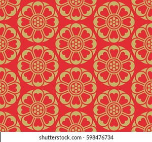 Seamless vector korean pattern,  tradition asian ornament