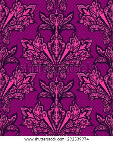 seamless vector lace pattern with folk paisley and floral elements. very elegant shape on tulle lace background. mirrored design,  beautiful dramatic colors, very romantic and elegant.