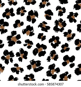 Seamless vector leopard print on white background