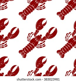 Seamless vector lobster pattern