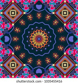 Seamless vector mandala pattern. Vintage decorative elements in boho style. Indian, tibetan, ottoman motifs in black, gray and blue colors.