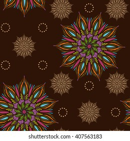 Seamless vector mandala pattern. Vintage decorative elements in boho style. Indian, tibetan, ottoman motifs.
