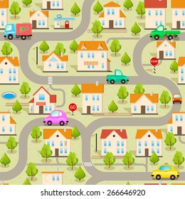Seamless Vector Maze Game Background. Funny Wallpaper: Cars, Streets and Buildings. Map of Cartoon Small Town