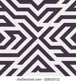 Seamless Vector Maze Pattern for Textile Design. Stylish Black and White Modern Art. Psychedelic Stripes Mix