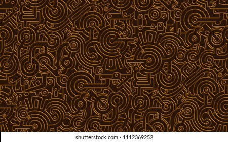 Seamless Vector Mechanical Pattern Texture. Isolated. Steampunk. Metallic. Bronze,Copper