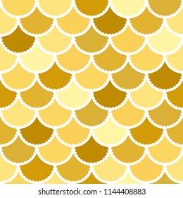 Seamless vector mermaid pattern as gold fish scale magic background for textile, posters, greeting cards, cases etc