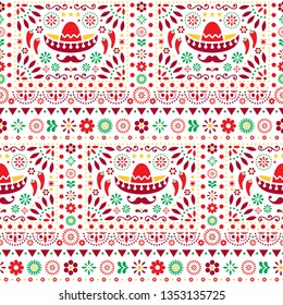 Seamless vector Mexican floral pattern with sombrero, chili peppers and flowers, happy repetitive background. Folk art design, retro ornament form Mexico, vibrant composition in red, orange and green