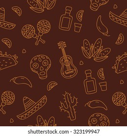Seamless vector Mexican pattern on a brown background, painted by hand.