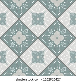 Seamless Vector Modern Farmhouse Cast Iron Skillet Motif on Geometric Tiles in Sage, Cream, Tan, and White. Great for fabric, kitchen textiles, scrapbooking, wallpaper, & home decor.