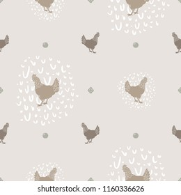 Seamless Vector Modern Farmhouse Chicken and Egg Polka Dot Print in Shades of Brown. Great for home decor, fabric, scrapbooking, textiles, wallpaper, print projects.