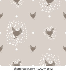 Seamless Vector Modern Farmhouse Chicken and White Egg Polka Dot Print in Tan & Brown. Great for home decor, fabric, scrapbooking, textiles, wallpaper, print projects.