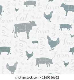 Seamless Vector Modern Farmhouse Cow, Chicken, and Pig Pattern in Blue, Gray, Green, & Silver with Swirly Script Text. Great for home decor, fabric, scrapbooking, textiles, wallpaper, print projects.