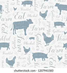 Seamless Vector Modern Farmhouse Cow, Chicken, and Pig Pattern in Blue, Gray, & Silver with Swirly Script Text. Great for home decor, fabric, scrapbooking, textiles, wallpaper, print projects.