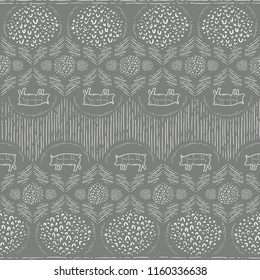 Seamless Vector Modern Farmhouse Pig Vertical Hand Drawn Line and Doodle Pattern in Brown and White. Great for fabric, scrapbooking, home decor, textiles, and backgrounds.