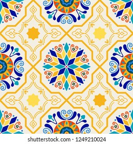 Seamless Vector Modern Moorish Geometric Spanish Moroccan Ceramic Floor Tile Shapes in Butter Yellow & Royal Blue. Great for textiles, fabric, home decor, paper crafting, backgrounds, and wallpaper.
