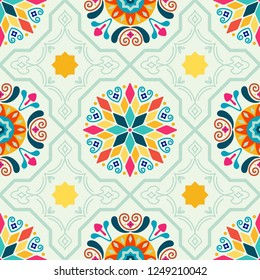 Seamless Vector Modern Moorish Geometric Spanish Moroccan Ceramic Floor Tile Shapes in Mint Green, Pink, Orange, Yellow. Great for textiles, fabric, home decor, paper crafting, backgrounds, wallpaper.