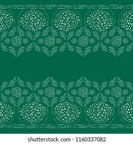 Seamless Vector Monochrome Green and White Abstract Festive Hand Doodled Geometric Border Pattern. Great for holidays, fabric, scrapbooking, home decor, textiles, and backgrounds.