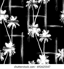 Seamless vector monochrome tropical pattern depicting black palm tree on a white background