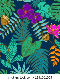 Seamless vector night jungle - monstera leaves, palms, flowers, tropical leaves and pods in deep, bright colors