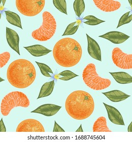 Seamless vector orange mandarin tangerine with leaves and flowers pattern. Pastel colors juicy background