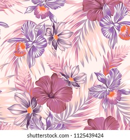 Seamless vector orchids pattern. Pale orchids in shades of pink, red, purple. Palm leaves with tender colors and flowers.