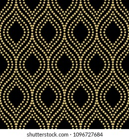 Seamless vector ornament. Modern background. Geometric modern dotted golden wavy pattern