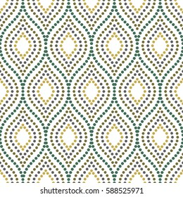 Seamless vector ornament. Modern background. Geometric pattern with repeating colored dotted wavy lines