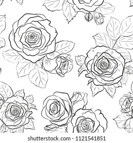 Seamless vector outline background made of rose buds and leaves isolated on white. Endless pattern for floral design. Black and white.