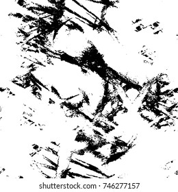 Seamless Vector Overlay. Grunge Black-White Abstract Pattern. Chaotic Particles Effect. Monochrome Endless Weathered Background. Aged Brushstroke Sample. Dark Horror Style Design Element