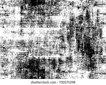Seamless Vector Overlay. Grunge Black-White Abstract Pattern. Chaotic Particles Effect. Monochrome Weathered Background. Aged Brushstroke Sample. Dark Style Design Element