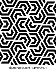 Seamless vector parallel hexagon shapes diagonal overlapping lines pattern background.