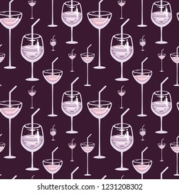 Seamless vector party with Cocktails. Evening alcohol drink. Template for bar and menu decoration, fabric and wrapping.