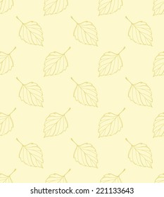 Seamless vector pattern about the light autumn. Hand drawn birch leaves falling.