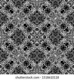 Seamless vector pattern of abstract elements. Mesh pattern. Art Nouveau and art Deco pattern.White graphics on a black background.For fabric design, packaging, Wallpaper and for engraving.