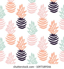 Seamless vector pattern with abstract pineapples.