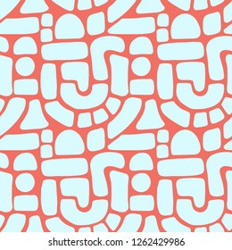 Seamless vector pattern abstract shapes. Blue blocks, arcs, dots on coral red. Hand drawn texture background. Flat cut out Memphis style. Mosaic puzzle art for women, cards, invitation, banner, fabric