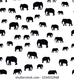Seamless vector pattern with African Elephants