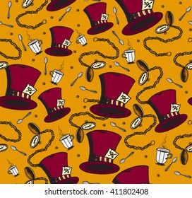 Seamless vector pattern Alice in wonderland. Hat Mad Hatter, tea cup and pocket watches