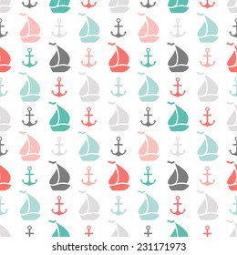 Seamless vector pattern of anchor and sailboat shape. Endless texture for printing onto fabric, web page background or invitation. Abstract retro nautical style. White, black, red, green, grey colors