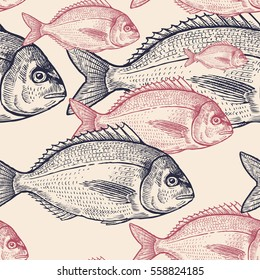 Seamless vector pattern with animals under water. Colored fish on pastel background. Vintage engraving art. Black and Pink hand drawing sketch. Kitchen design with seafood for paper, wrapping, fabrics