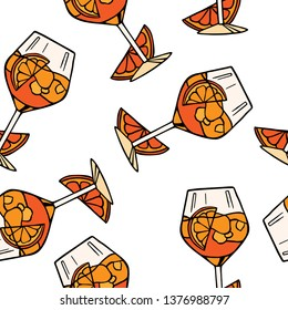 Seamless vector pattern of aperol spritz cocktails. Italian drinks vector background