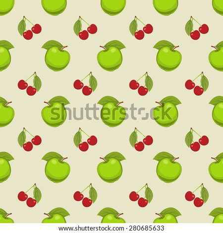 seamless vector pattern apples cherry template stock vector royalty