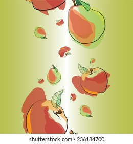 Seamless vector pattern with apples and pears