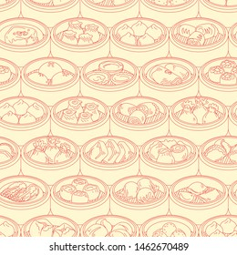 Seamless vector pattern with Asian food Dim Sum. Hand drawn Yang cha illustration.