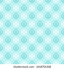 Seamless vector pattern in Asian style. Chinese symbol of life and longevity. Vector color background.