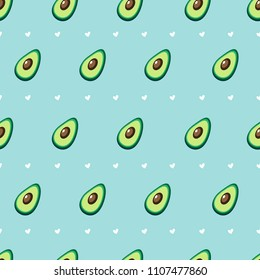 Seamless vector pattern with avocado and hearts on a blue background.