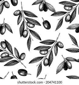 Seamless vector pattern with back ink hand drawn olive tree twigs isolated on white. Vintage olive background