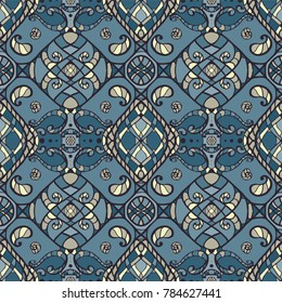 Seamless vector pattern background in cold colors designed in oriental Arabic carpet style.