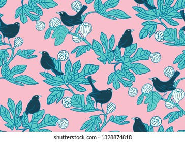 Seamless vector pattern background with cute birds on the branches of a fig tree on pink background. Surface pattern design for fabric, wallpaper scrapbooking.